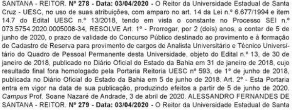 documento de prorrogação do concurso UESC BA